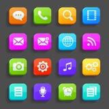 Icone per il telefono cellulare, isolate su fondo grigio Fotografia Stock Libera da Diritti