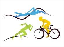 Icone per il triathlon ed altri eventi del punto illustrazione vettoriale