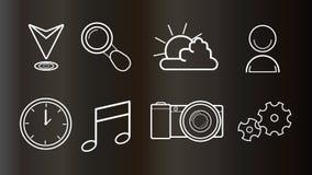 Icone per il web e la progettazione mobile Immagine Stock
