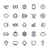 Icone per il web nella linea stile isolate su bianco Fotografie Stock Libere da Diritti