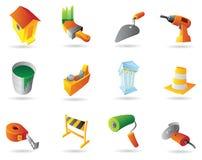 Icone per industria dell'edilizia Fotografia Stock Libera da Diritti