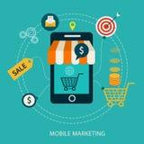 Icone per l'introduzione sul mercato mobile e l'acquisto online Immagine Stock Libera da Diritti