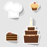 Icone per la pubblicità del commercio di ristorante Fotografia Stock