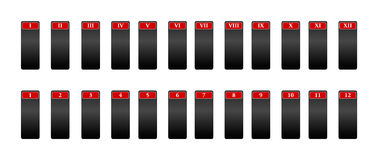 Icone per la rappresentazione dei numeri con i numeri romani Fotografia Stock