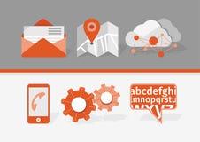Icone per le applicazioni del cellulare e di web Fotografia Stock Libera da Diritti