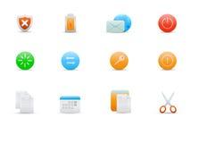 Icone per le funzioni comuni del calcolatore Fotografia Stock Libera da Diritti