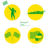 Icone per lo sport, automobile sportiva, autista, casco e bandiera di corsa Fotografie Stock