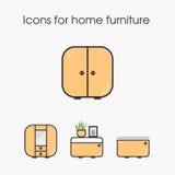 Icone per mobilia domestica Fotografia Stock