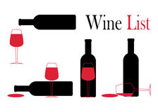 Icone per vino, le cantine, i ristoranti ed il vino Immagini Stock Libere da Diritti