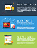 Icone per web design, seo, media sociali Fotografie Stock