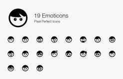 19 icone perfette del pixel degli emoticon Immagine Stock