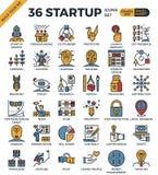 Icone perfette del profilo del pixel della giovane impresa Immagine Stock