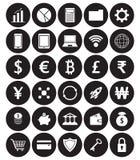 Icone piane bianche di Fintech in parte posteriore di bianco di Front Of Black Circles On Royalty Illustrazione gratis