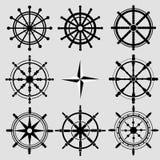 Icone piane in bianco e nero del timone di vettore messe Illus della ruota del timone Immagini Stock Libere da Diritti