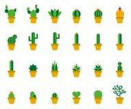 Icone piane colorate cactus Fotografia Stock