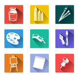 Icone piane con gli strumenti di disegno Immagini Stock
