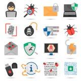 Icone piane cyber di colore di protezione e di attacco messe Immagine Stock