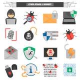 Icone piane cyber di colore di protezione e di attacco messe Fotografia Stock