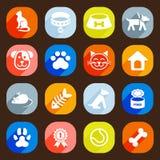 Icone piane d'avanguardia del gatto e del cane Elementi di vettore Fotografia Stock