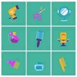 Icone piane d'avanguardia del parrucchiere Insieme delle icone dello stilista Elementi del barbiere per il grafico di informazion royalty illustrazione gratis
