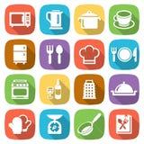 Icone piane d'avanguardia di cottura e della cucina Vettore Fotografia Stock