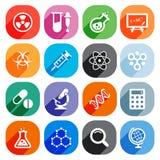 Icone piane d'avanguardia di scienza Elementi di vettore Immagini Stock