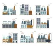 Icone piane decorative della fabbrica messe royalty illustrazione gratis