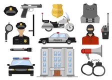 Icone piane decorative della polizia messe royalty illustrazione gratis