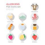 Icone piane degli allergeni messe Illustrazione Vettoriale
