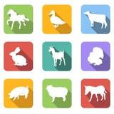 Icone piane degli animali da allevamento illustrazione vettoriale