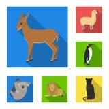 Icone piane degli animali differenti nella raccolta dell'insieme per progettazione L'uccello, il predatore e l'erbivoro vector il Immagini Stock