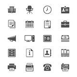 Icone piane degli articoli per ufficio Fotografie Stock Libere da Diritti