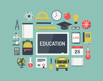 Icone piane degli oggetti di istruzione messe illustrazione vettoriale