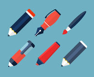 Icone piane degli strumenti di scrittura e della pittura Fotografia Stock Libera da Diritti
