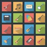 Icone piane degli strumenti musicali messe illustrazione vettoriale