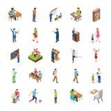 Icone piane degli studenti universitari e dell'istituto universitario illustrazione di stock