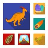 Icone piane dei dinosauri differenti nella raccolta dell'insieme per progettazione Illustrazione animale preistorica di web delle Immagine Stock Libera da Diritti