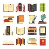 Icone piane dei libri Riviste con il segnalibro, la storia e la pila di libro aperta di scienza L'enciclopedia sulla biblioteca a illustrazione di stock
