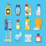 Icone piane dei prodotti di pulizia e di igiene Fotografia Stock