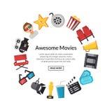 Icone piane del cinema di vettore nel cerchio illustrazione vettoriale