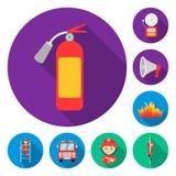 Icone piane del corpo dei vigili del fuoco nella raccolta dell'insieme per progettazione I pompieri e le attrezzature vector l'il illustrazione vettoriale