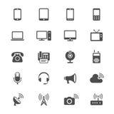 Icone piane del dispositivo di comunicazione Fotografia Stock