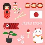 Icone piane del Giappone Tema giapponese Illustrazione Fotografia Stock Libera da Diritti