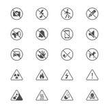 Icone piane del segnale di pericolo Immagine Stock