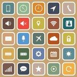 Icone piane del telefono cellulare su fondo marrone Fotografia Stock Libera da Diritti
