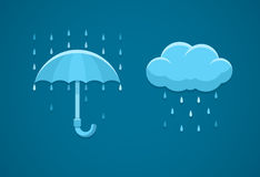 Icone piane del tempo piovoso con le gocce di pioggia e l'ombrello della nuvola Immagini Stock