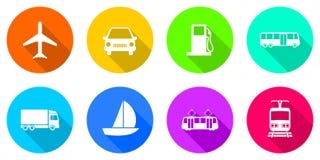 Icone piane del trasporto di progettazione Immagini Stock Libere da Diritti