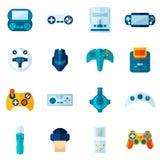 Icone piane del video gioco messe Fotografie Stock