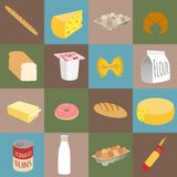 Icone piane dell'alimento royalty illustrazione gratis