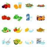 Icone piane dell'alimento sano messe royalty illustrazione gratis